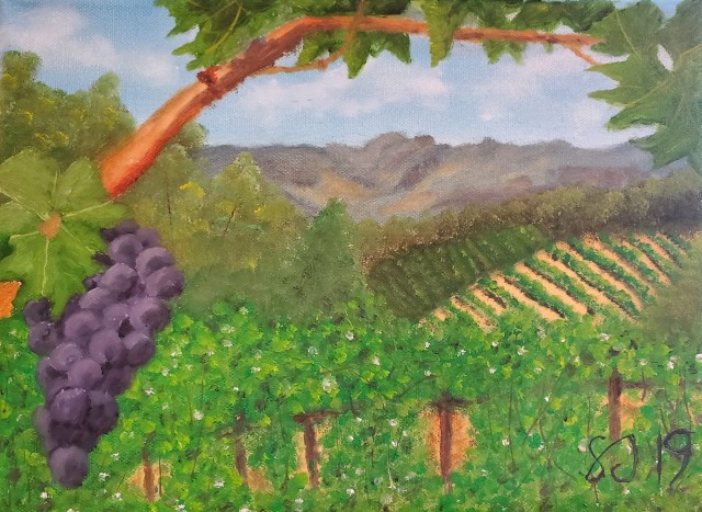 Painting 008 - Mountaintop Vineyard Cropped