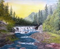 Sacred Dancing Cascade – 16″ x 20″ Oil on Canvas
