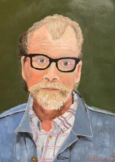 "George Saunders Portrait - 12"" x 9"" Oil on Cotton Paper"