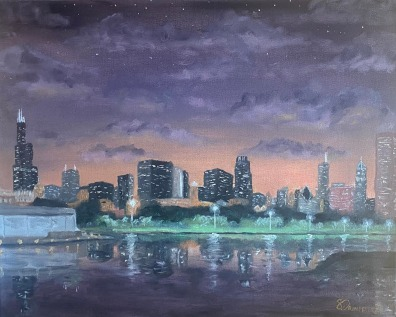 """Chicago at Dusk - 16"""" x 20"""" Oil on Canvas"""