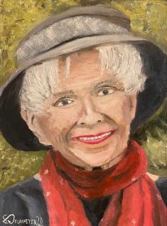 """Alice Munro Portrait - 12"""" x 9"""" Oil on Cotton Paper"""