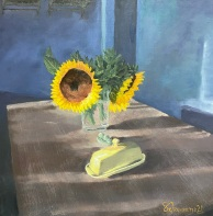 """The Breakfast Table - 12"""" x 12"""" Oil on Panel"""